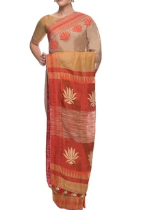 beige-linen-sari-with-lotus-motif