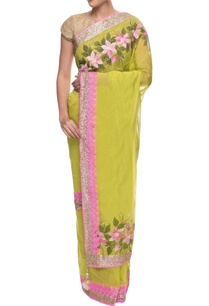 green-chanderi-sari-with-flower-hand-painting-and-lace-border