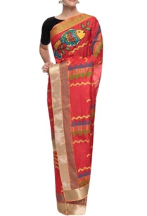 red-monga-silk-hand-painted-sari