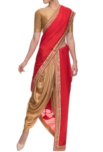 gold-and-red-shimmer-dhoti-and-embellished-sari