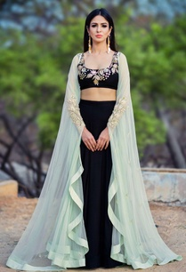 black-lehenga-set-with-mint-green-cape