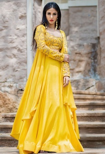 mustard-yellow-lehenga-set-cape