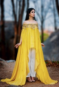 sunflower-yellow-off-shoulder-kurta-set