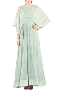 sea-green-cold-shoulder-anarkali