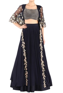 navy-blue-lehenga-blouse-with-cape