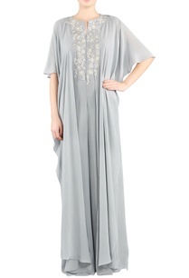 grey-embroidered-cape-jumpsuit