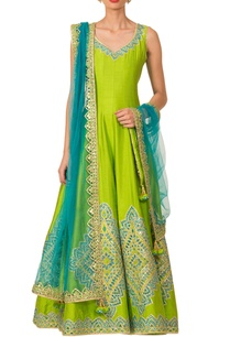 parrot-green-anarkali-set