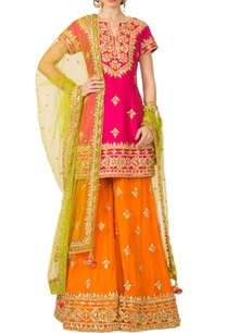 hot-pink-orange-green-sharara-set