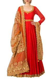 red-embroidered-anarkali-set