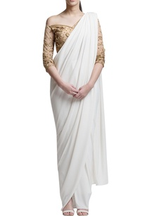 ivory-sari-with-gold-off-shoulder-blouse
