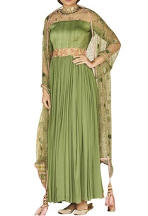 olive-green-anarkali-with-embroidered-dupatta