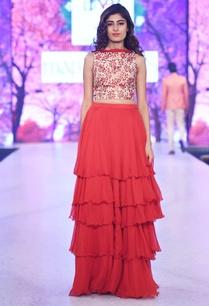 beige-printed-crop-top-red-skirt