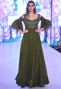 olive-green-cold-shoulder-gown