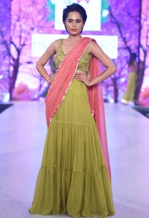 green-coral-pink-skirt-sari-set