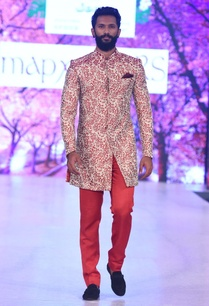 beige-red-cherry-blossom-sherwani-set