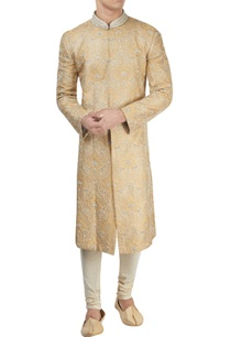 light-yellow-collared-sherwani