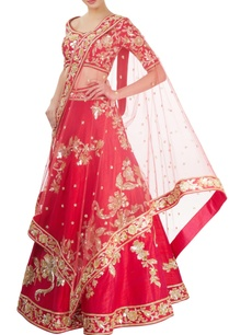 red-embellished-lehenga-set