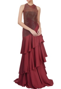 maroon-embellished-tiered-gown