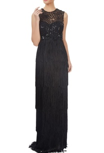 black-fringed-embellished-gown