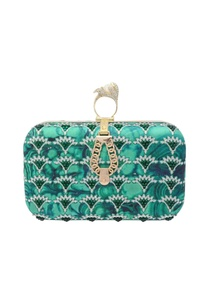green-clutch-with-abstract-print