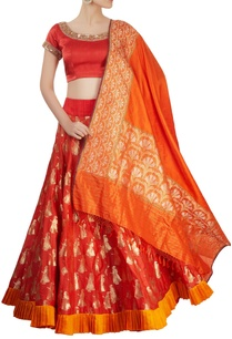 red-zari-motif-lehenga-set