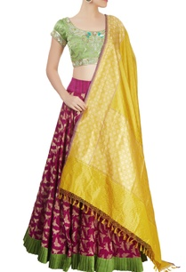 green-wine-lehenga-set
