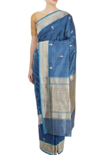 cerulean-blue-sari-with-blouse-piece