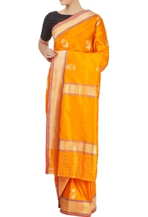 mango-yellow-sari-with-blouse-piece