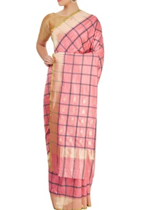 pink-checkered-sari-with-blouse-piece