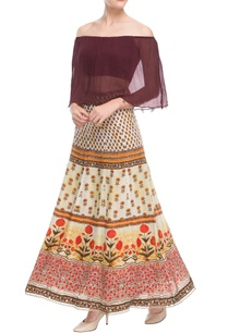 burgundy-off-shoulder-top-printed-skirt