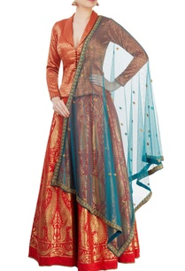 red-jacket-lehenga-set