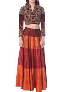 maroon-orange-lehenga-set