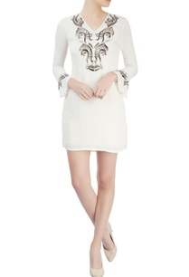 white-embroidered-short-dress