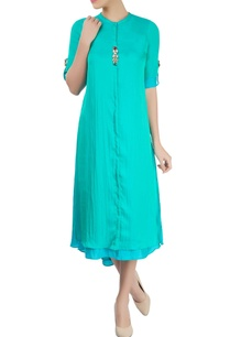 turquoise-blue-layered-kurta-with-asymmetrical-hemline