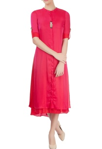 red-layered-kurta-with-asymmetric-hem