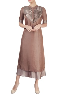 brown-taupe-layered-kurta-with-sequin-embellishment