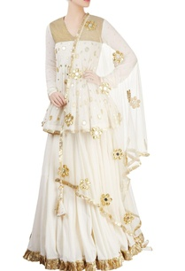 gold-off-white-embroidered-kurta-lehenga