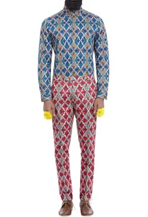 red-motif-print-trousers