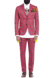 red-motif-print-blazer