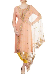 peach-yellow-embroidered-kurta-set