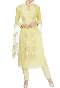 yellow-kurta-pants-with-embellished-cape