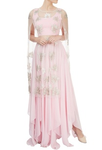 baby-pink-crop-top-skirt-with-embellished-cape