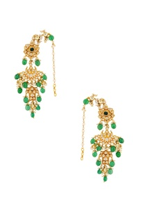 green-white-bead-earrings