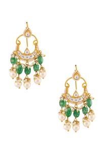 green-white-gold-plated-earrings