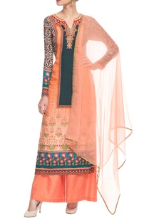 peach-printed-kurta-set