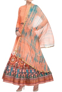 peach-printed-anarkali-kurta-set