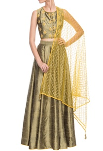 olive-green-silk-lehenga-set