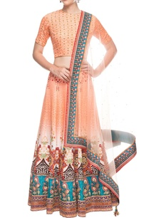 peach-printed-lehenga-set