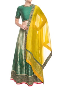 emerald-green-silk-lehenga-set
