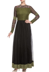 olive-green-black-embroidered-maxi